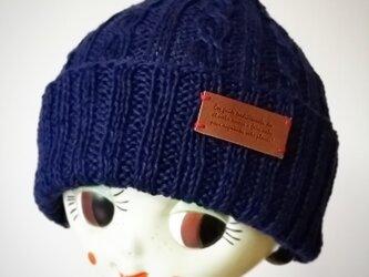 麻(リネン)のサマーニット帽【ネイビー】の画像