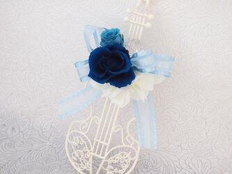 New◆バイオリン・プリザーブドフラワーアレンジ(ブルー)の画像