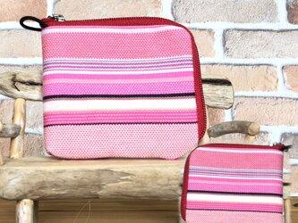 倉敷帆布の薄い財布   ピンク系生地 赤ファスナーの画像
