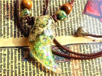 【海水浴OK!】虹古竜ドラゴライト竜爪ネックレス(フルカスタム)の画像