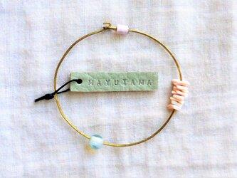 S様ご予約品 ガラスとサンゴと真鍮のブレスレット(opal) 「sold」の画像