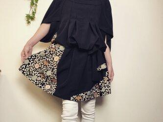 着物リメイク 留袖 正絹変形五分袖 ゆったりワンピース菊 の画像
