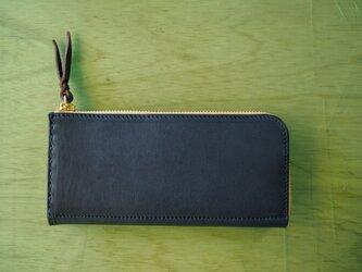 L字ファスナーの長財布 / ネイビーの画像
