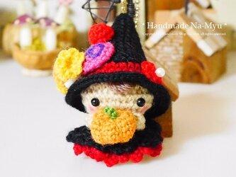 【受注制作】あみぐるみ★ハロウィンが楽しみ!! Halloweenベビーちゃん♪・赤(S)/ボールチェーンの画像