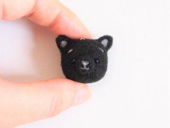 まゆねこ【黒猫】 携帯クリーナーストラップ 羊毛フェルト(アクレーヌ製)※受注製作の画像
