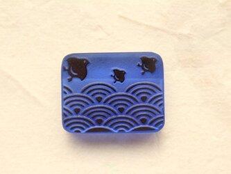 【再販】ALLガラス製帯留め 「千鳥+青海波」其の壱の画像