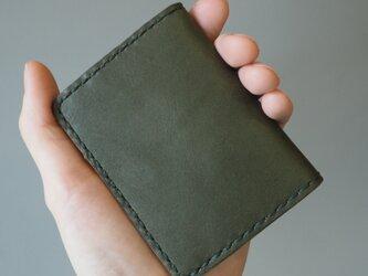 手縫いのボックスコインケース グリーン&キャメルの画像