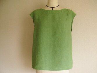 リネンのフレンチスリーブブラウス(緑)の画像