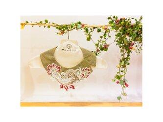 つけ襟☆ グレンチェック×刺繍レース(赤) 【送料無料】の画像