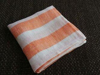 リネンの太っちょボーダーはんかち(白×オレンジ)の画像