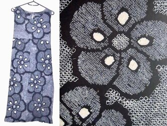 Sold Out浴衣リメイク♪大輪の梅有松総絞りチュニックワンピース♪ハンドメイド♪藍染めの画像