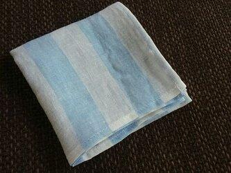 リネンの太っちょボーダーはんかち(白×ブルー)の画像