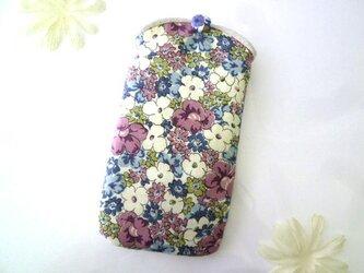 スマホケース 花柄 パープルの画像