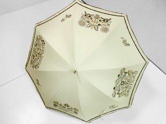 鳥と馬と花の更紗の日傘(ベージュ色・ドット柄布付き)の画像