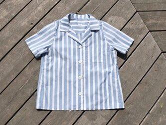 播州織 bansyuori cotton ストライプ リラックス リゾートワイドシャツの画像