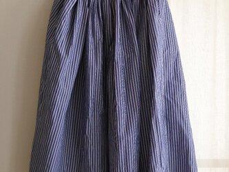 Sale!7800→5800 送料込 綿麻ロングギャザースカート ネイビーストライプの画像