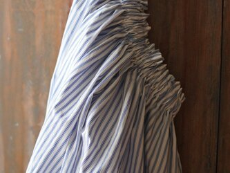 Sale!7800→5800 送料込 綿麻ロングギャザースカート ホワイトストライプの画像