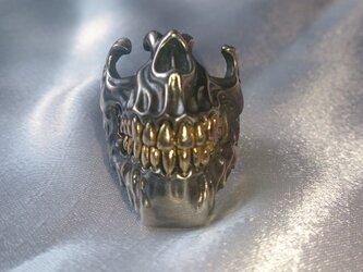顎スカルリング(歯部分18金メッキ加工)の画像