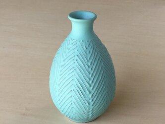 ターコイズブルー花器 麦わら文の画像
