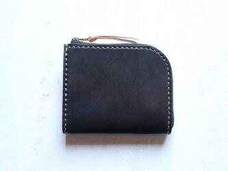【受注生産品】L字ファスナー小さい財布 ~栃木ブラックサドル×栃木ヌメ~の画像