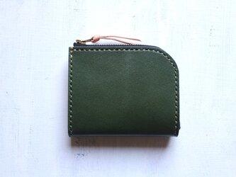 【受注生産品】L字ファスナー小さい財布 ~栃木アニリン緑×栃木ヌメ~の画像