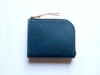 【受注生産品】L字ファスナー小さい財布 ~栃木アニリン青×栃木ヌメ~の画像