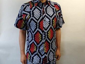半袖総絞り浴衣シャツ(亀甲文様)の画像