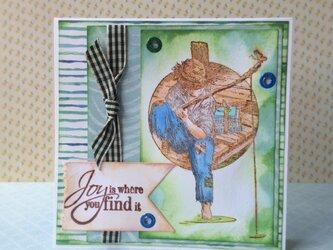 魚釣り、少年のカードの画像