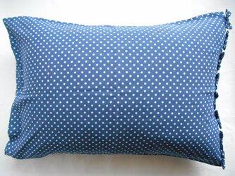 リボン付きかわいい水玉ブルー枕カバーの画像