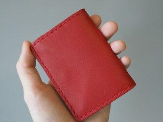 手縫いのボックスコインケース レッド&キャメルの画像