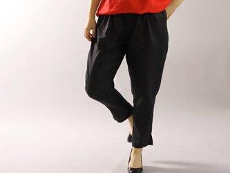 【wafu】薄手 リネン パンツ 裾スリット ジョッパーズ ウエストゴム ベルトループ/ブラック b001e-bck1の画像