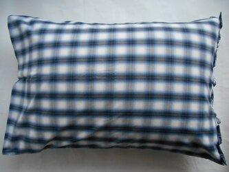 ブルー チェック リボン付きかわいい枕カバーの画像