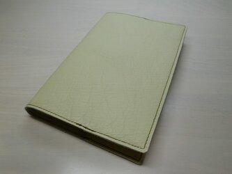 牛革・オフホワイト・ソフトレザー・フラットタイプ・ブックカバー0190の画像
