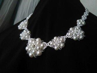 パールビーズのネックレス・白・03の画像