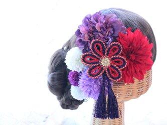 赤系和装髪飾り タッセル付き花の組紐飾り 成人式 卒業式 結婚式の画像
