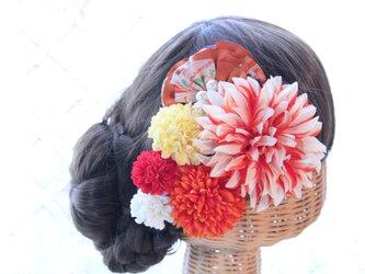 オレンジ系和装髪飾り 扇子型和柄布髪飾り 成人式 卒業式 結婚式の画像