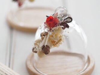 【トロッケンクランツ】プチガーランド付きガラスドーム アンティークレッドローズの画像