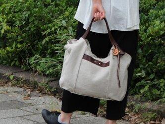 tanton-linen-ダークブラウン(リネン帆布×レザーバッグ)の画像