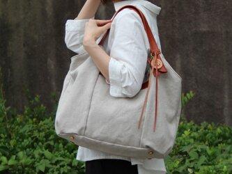 tanton-linen-レッドブラウン(リネン帆布×レザーバッグ)の画像