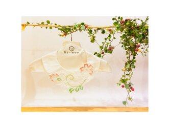 つけ襟☆ シルクシャンタン×刺繍レース(ピンク×グリーン) 【送料無料】の画像