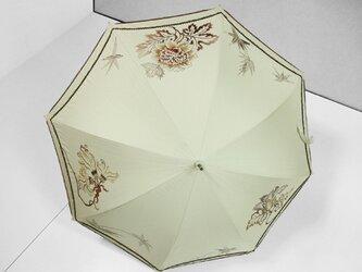 花更紗の日傘(ベージュ色・ドット柄布付き)の画像