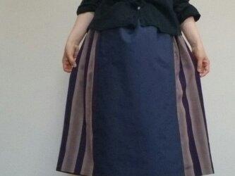 着物リメイクスカート粋な紫ブルーコットンウエストゴムの画像