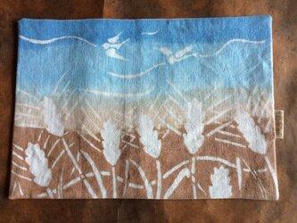 柿渋染め・藍棒染めティーマット  小鳥と小麦の画像