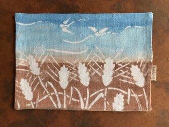 ☆sale☆ 柿渋染め・藍棒染めティーマット  小鳥と小麦の画像