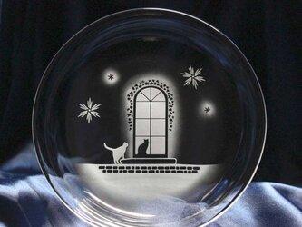 【冬の洋館】猫モチーフのガラス小皿の画像