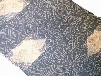 sh0015b 大正ロマン☆松竹梅紋様(夏着物)ハギレ100cm☆古布・古裂/絞り/錦紗縮緬/正絹/人絹/モスリンの画像