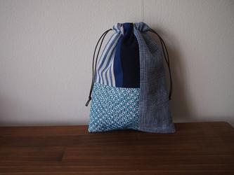 刺し子のパッチワーク巾着 ブルー系の画像