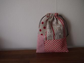 刺し子のパッチワーク巾着 の画像