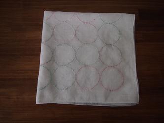 刺し子の花ふきん 丸紋の画像