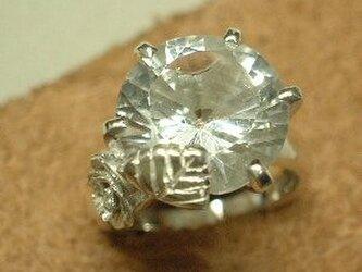 シルバー大きな水晶立爪リング  dsr192jの画像